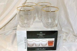 Noble Excellence Sparkle And Shine Set Of 4 Crackle Glass Gold Trim Dofs... - $27.71