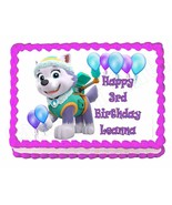 PAW PATROL EVEREST edible party cake topper decoration frosting sheet image - $7.80