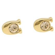 NWT COACH Signature Stone Stud Earrings Jewelry Plated Metal Gift Gold F... - $59.40