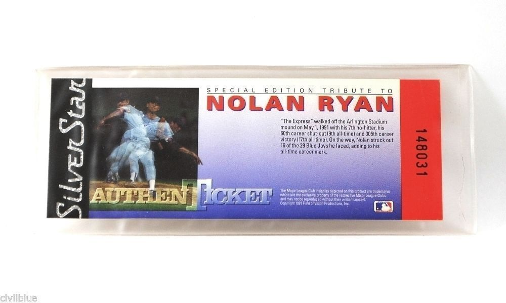 Nolan Ryan Silver Star Authentic Hologram Ticket 2 Identical Trading Cards 1991