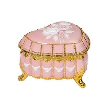 Matte Pink Heart Shaped Jeweled Gold Tone Metal Music Box Plays 18th Var... - $115.03