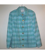 Elegance Paris Prestige AE Jacket sz 16 Blue 6 Button Front Metallic Ger... - $45.00
