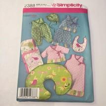 Simplicity 2388 Size xxs-l Babies' Layette and Hat - $11.64