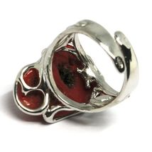 925 SILVER RING, RED CORAL NATURAL CABOCHON, MADE IN ITALY image 6