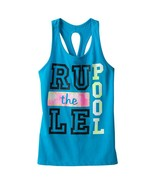 SO Girls 7-16 Rule The Pool Racerback Keyhole Tank Top Swim Cover - $4.99