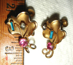 VTG VICTORIAN ART DECO RHINESTONE GOLD MERMAID CLAM SHELL SCREWBACK EARR... - $67.99