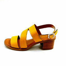 Franco Sarto Womens Lilah Leather Asymmetrical Strap Sandals Summer Yell... - $34.64