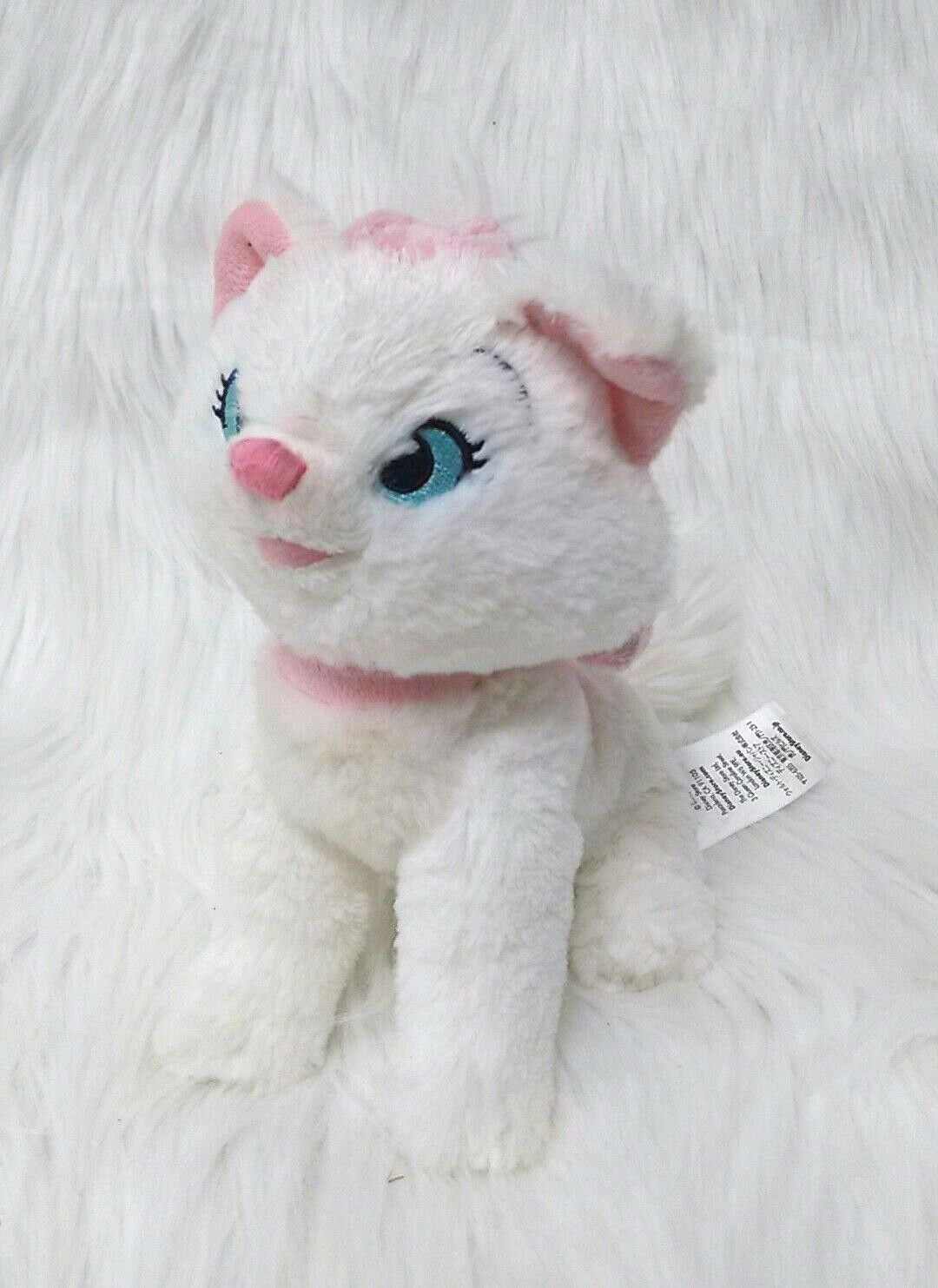"Primary image for Disney Store Marie Aristocats Cat Kitten 8"" White Pink Bow Plush Toy B202"