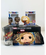 Marvel Set, Funko Pop! Captain Marvel Glow in the Dark, Nick Fury, Shirt... - $34.64