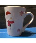 Christmas Snowman Snowflake White Red Large Holiday COFFEE MUG Californi... - $19.79