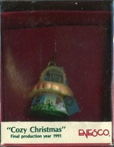 1991 New in Box Enesco Christmas Ornament - Cozy Christmas - Miniature - $8.01
