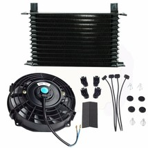 "13 Row 10AN Engine Transmission Oil Cooler + 7"" Electric Black Fan Kit U... - $76.20"