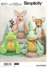 """Simplicity 8311 Stuffed 14"""" Animals Deer and Frog   New - Uncut - $7.00"""