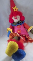 Colorful Felt Seated Clown Doll Pink Orange Red Blue Green Yellow with  ... - $14.84