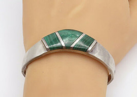 MEXICO 925 Sterling Silver - Vintage Malachite Hinge Bangle Bracelet - B... - $150.73