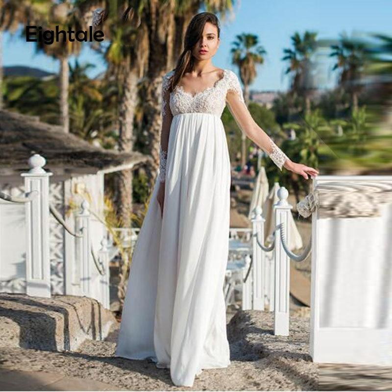 Ng dress for pregnant woman long sleeves sweetheart appliques lace backless wedding gown chiffon