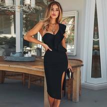 Women's New Sexy Black One Shoulder Split Sheath Bodycon Summer Party Dress image 2