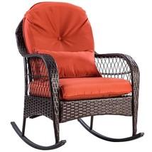 Patio Rattan Wicker Rocking Chair Modern Porch Deck Rocker - $176.98