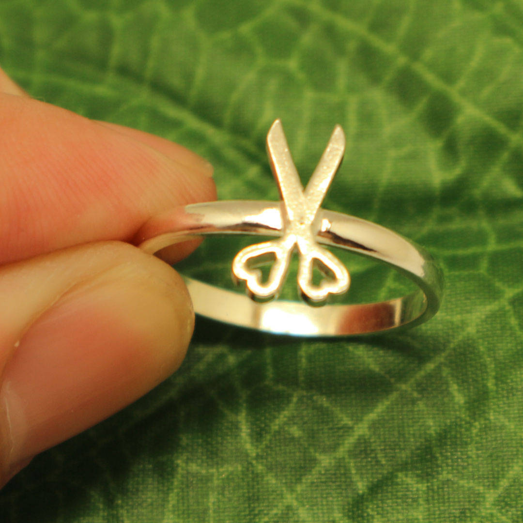 Primary image for Handmade Sterling Silver Scissor Ring - Hair Salon or Stylist Gift