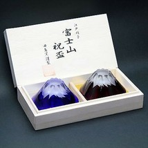EDO KIRIKO pair set FUJISAN Mt.Fuji SAKE glass wooden box made in Japan F/S - $142.80