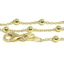 18K YELLOW GOLD MINI BALLS CHAIN 2 MM, 18 INCHES SPHERE ALTERNATE OVAL ROLO LINK image 2