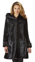 Excelled Womens Plus Fur Look Hooded Jacket Black 1X #NK8T8-912 - $99.99