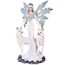 Extra Large White Tribal Fairy With Wolves Statue Finish Made of Polyresin - $133.65