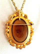 Vintage D&E Juliana Cameo Brooch Pin Pendant Necklace, Rhinestone Brooch Pendant image 2