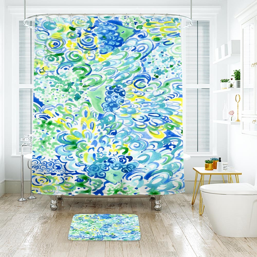 Flower Lilly Lagoon Shower Curtain Waterproof & Bath Mat For Bathroom