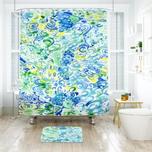 Flower Lilly Lagoon Shower Curtain Waterproof & Bath Mat For Bathroom image 1
