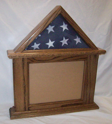 Primary image for Oak Flag & Document Display 3x5 Flag, 8.5x11 Landscape Cert Frame, Walnut Finish