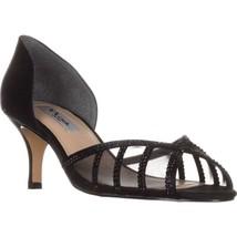 Nina Corita Peep Toe Kitten Heels, Black Satin - $34.99