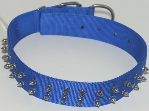 Valhoma 760 S24 BL Spike Dog Collar Blue Double Layer Nylon 24 inches Package 1