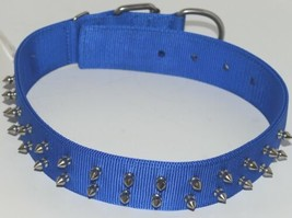 Valhoma 760 S24 BL Spike Dog Collar Blue Double Layer Nylon 24 inches Package 1 image 1