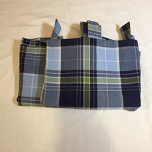 "2 Pottery Barn Kids Tate Blue Plaid Curtain Panel 40"" x 76"" Cotton - $27.08"