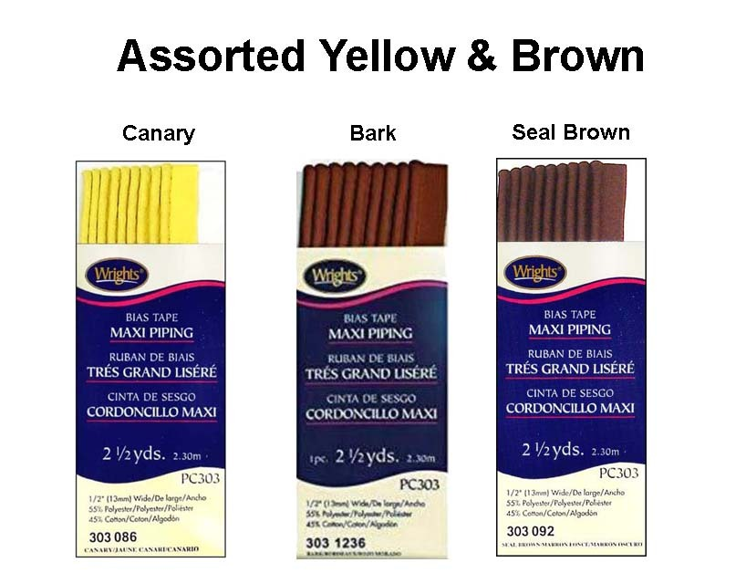 Wrights Maxi Piping Bias Tape PC303 - 2 1/2 yds each 3 Assorted Yellow & Brown - $5.55