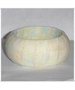 Small Wooden Bangle, Fabric Wrapped Bangle, Cream Fabric Bracelet, Fabri... - $10.00