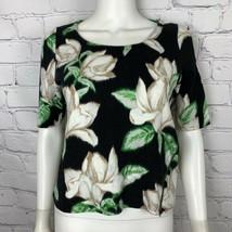 Postmark Anthropologie Women's Blouse Small Black Floral Short Sleeve - $27.12