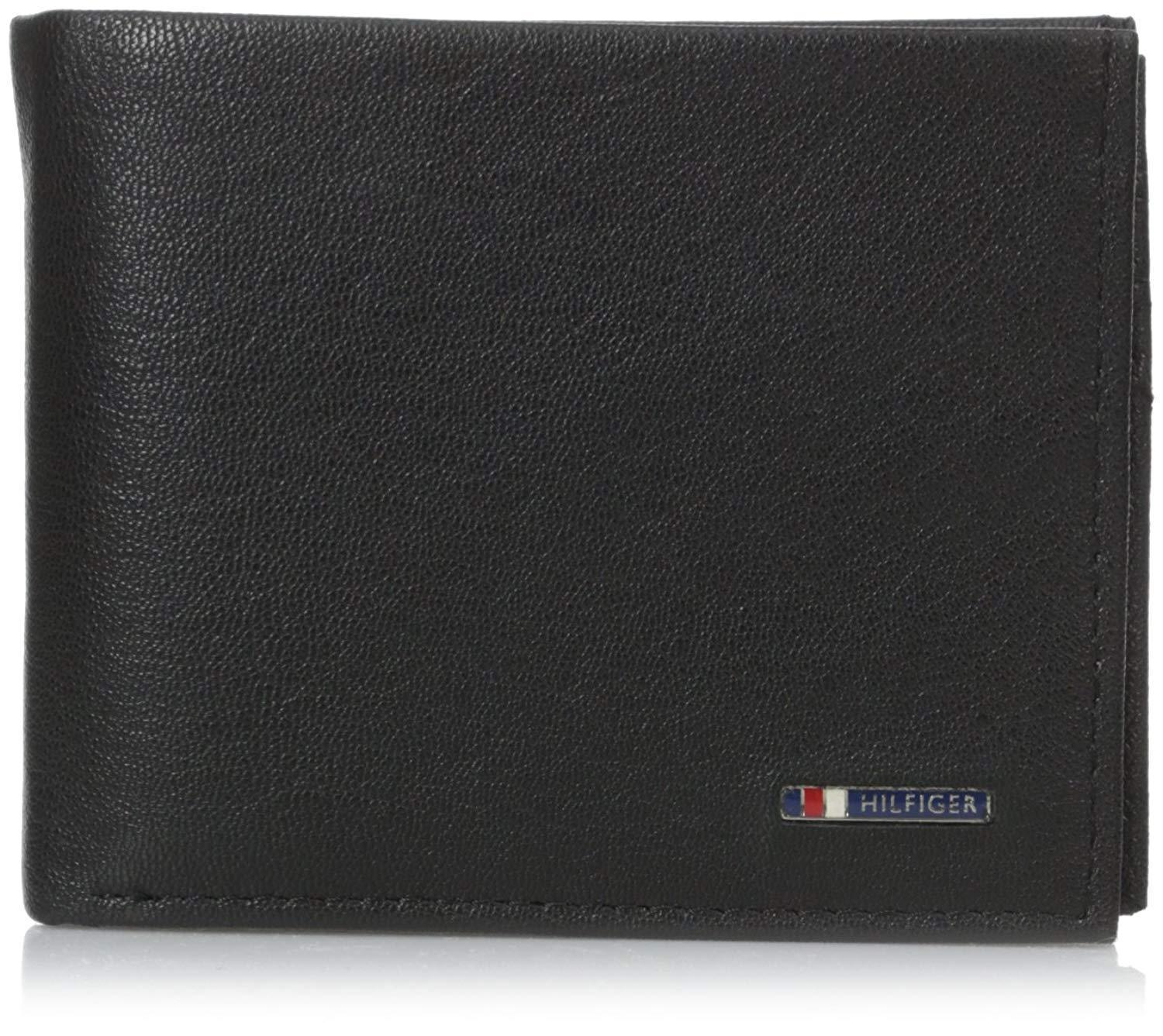 Tommy Hilfiger Men's Black Leather Passcase Credit Card Wallet 31TL22X106