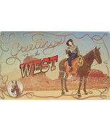 Rustic/Vintage Greetings from the West Country Cowboy with Horse Tin Met... - $19.95