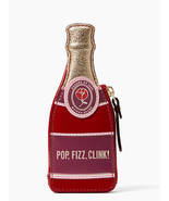 New Kate Spade Champagne Bottle Coin Case Purse Wallet Red Multi - $57.42