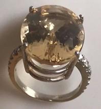 New Chistick Design Huge 17.3 ct VS Yellow Beryl, diamond 14k gold ring ... - $3,499.90
