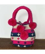 Authentic 100% Wayuu Mochila Colombian Bag Mini Size Bright Colors Short... - $35.00