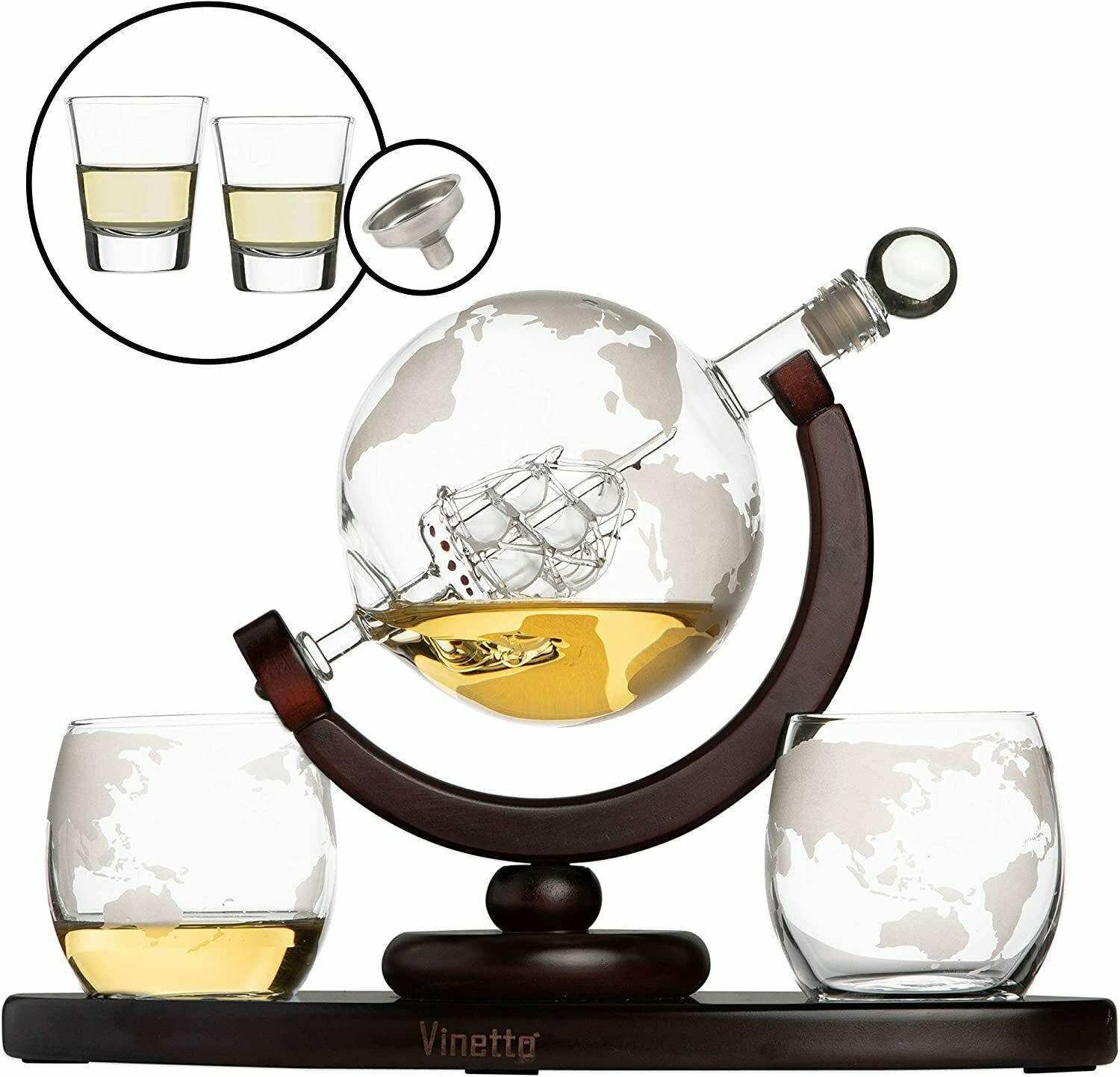 Primary image for Whiskey Globe Decanter Set with 2 Etched Globe Whisky Glasses & Shots Glasses