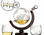 Whiskey Globe Decanter Set with 2 Etched Globe Whisky Glasses & Shots Glasses