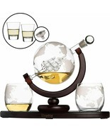 Whiskey Globe Decanter Set with 2 Etched Globe Whisky Glasses & Shots Gl... - £54.45 GBP