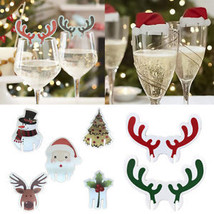 Christmas Santa Hat Champagne Wine Glass Cup Caps Tags Xmas Party Table ... - $180,36 MXN