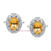 Natural Citrine & CZ Gemstones With 925 Sterling Silver Cufflinks for men's - $115.00