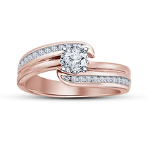 14k Rose Gold Plated Pure 925 Sterling Silver Diamond Wedding Engagement... - $73.99