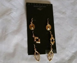 attention Sensitive Ear Gold Tone Wire Hook Multi Earrings Gift for Her - $12.64